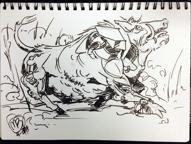 It's a bull on the run! Or is it a mutated boar/robot?