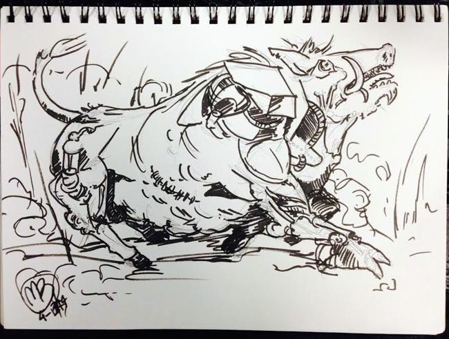 It's a bull on the run! Or is it a mutated boar/robot?