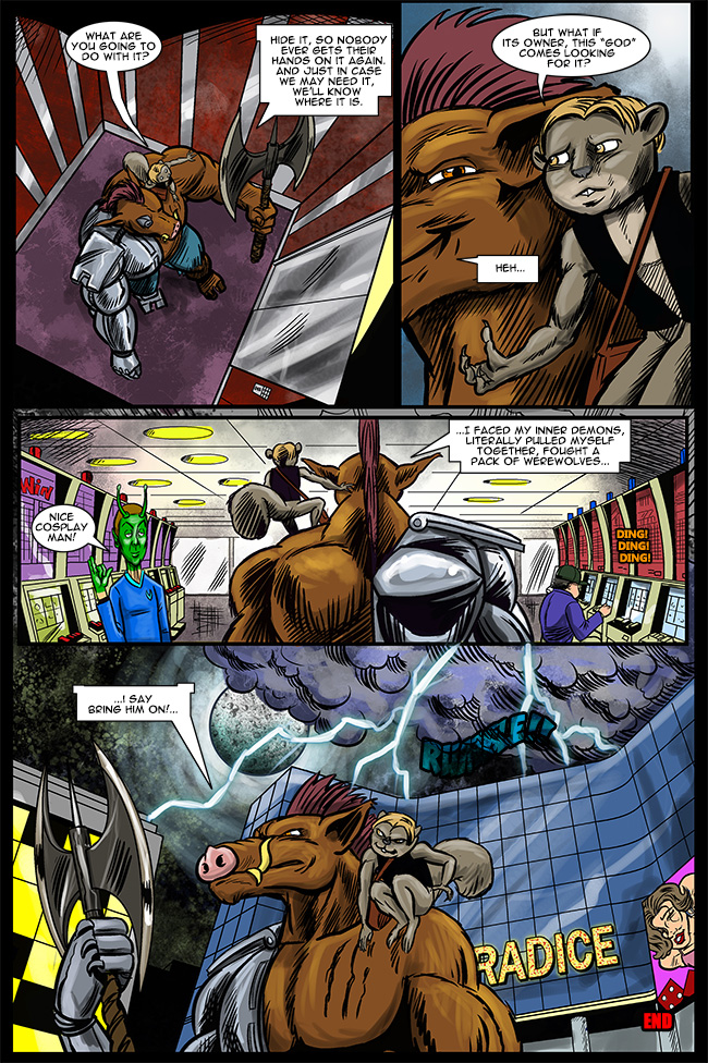 So what do you think? Should there be some kinda sequel? Cy-Boar getting in a fight with a mythical god?!