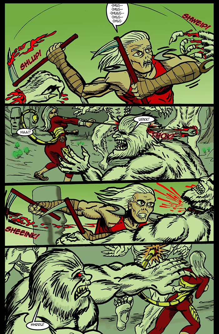 Which is a better move?  Scorp chopping the fingers off that beast in panel 1 or Anna impaling that creatures head in panel 2?  Both pretty vicious...