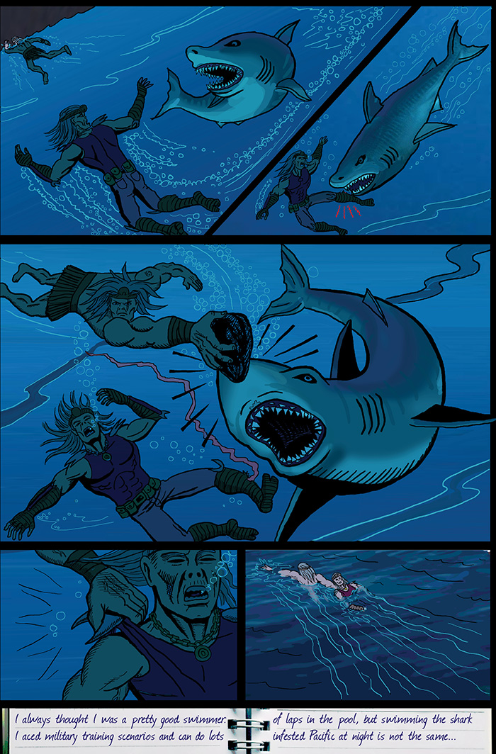 Where did Skarj get that rock to hit the shark with? Did he just know that one of them was likely to need it?