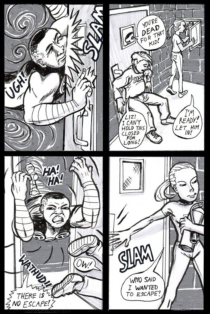 This page was surprisingly hard to draw. I couldn't figure out how this door was supposed to work. Push or pull?