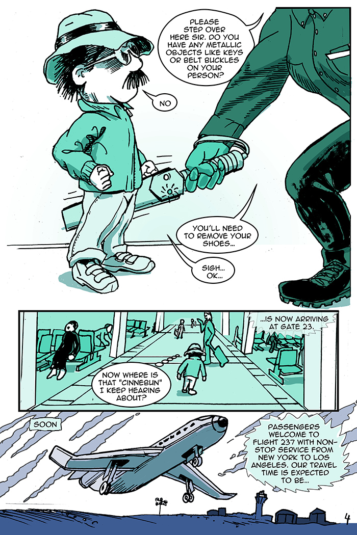 Notice the different blue/green colors used in the page. Figure out what the colors signify as the story progresses.